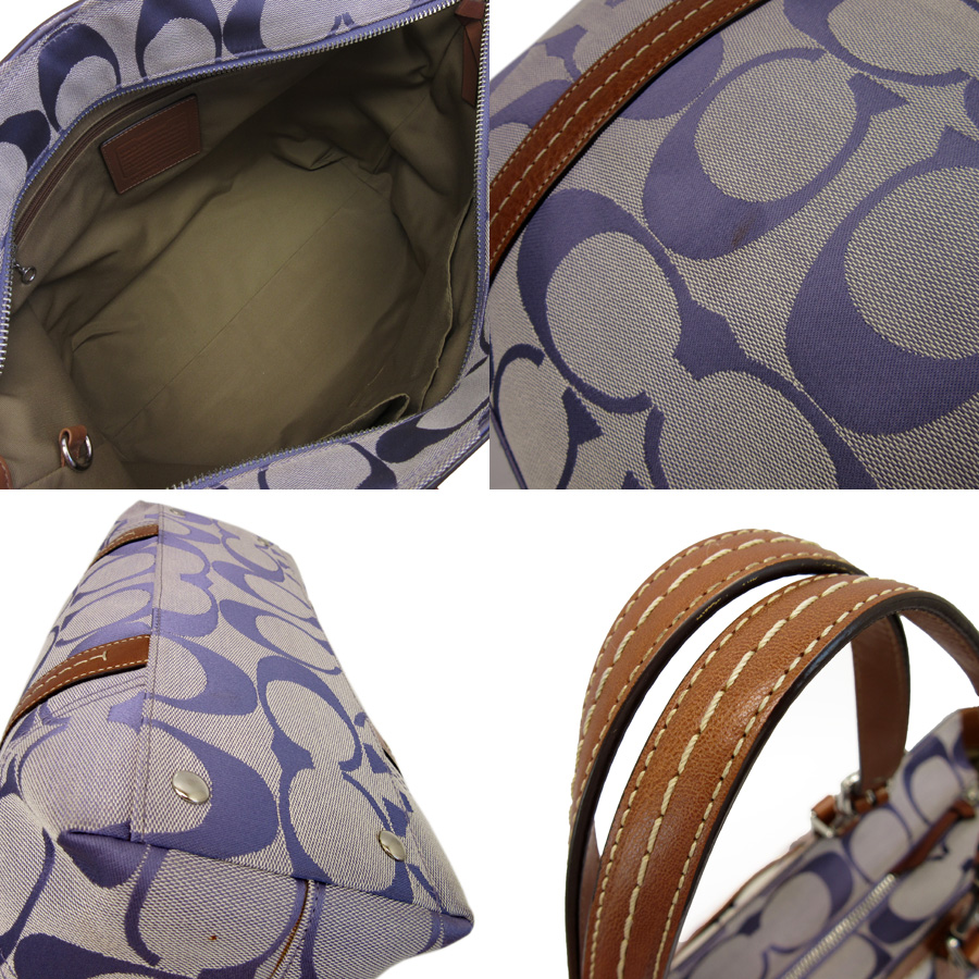 fa0b292bb56c4  basic popularity   used  coach  COACH  signature shoulder bag Lady s purple  system x brown canvas x leather