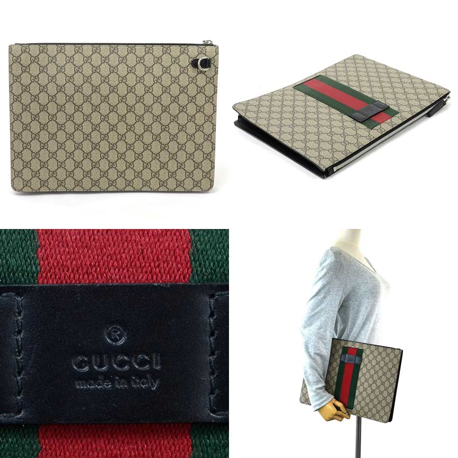 5a94f654554  basic popularity   used  Gucci  GUCCI  GG pattern clutch bag second bag  Lady s men beige system x red x green GG スプリームキャンバス