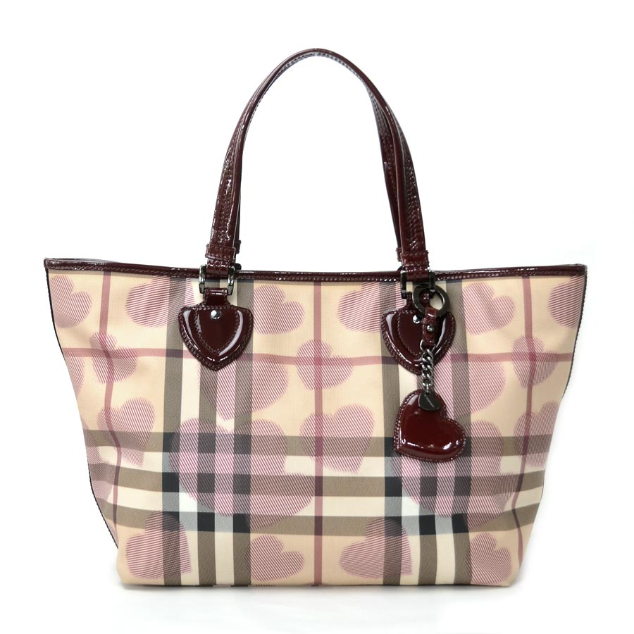 11f03e45552 BrandValue: Burberry shoulder bag tote bag Novacek dark red x beige system  PVCx patent leather BURBERRY Lady's ITTREGRO44SCA reduction in price  product ...