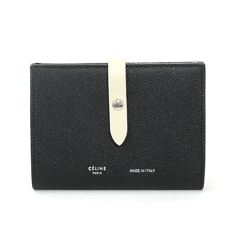 39ab54a9549f It is Celine  CELINE  strap medium multi-function folio wallet Lady s black  x off-white x silver metal fittings leather  soot   used