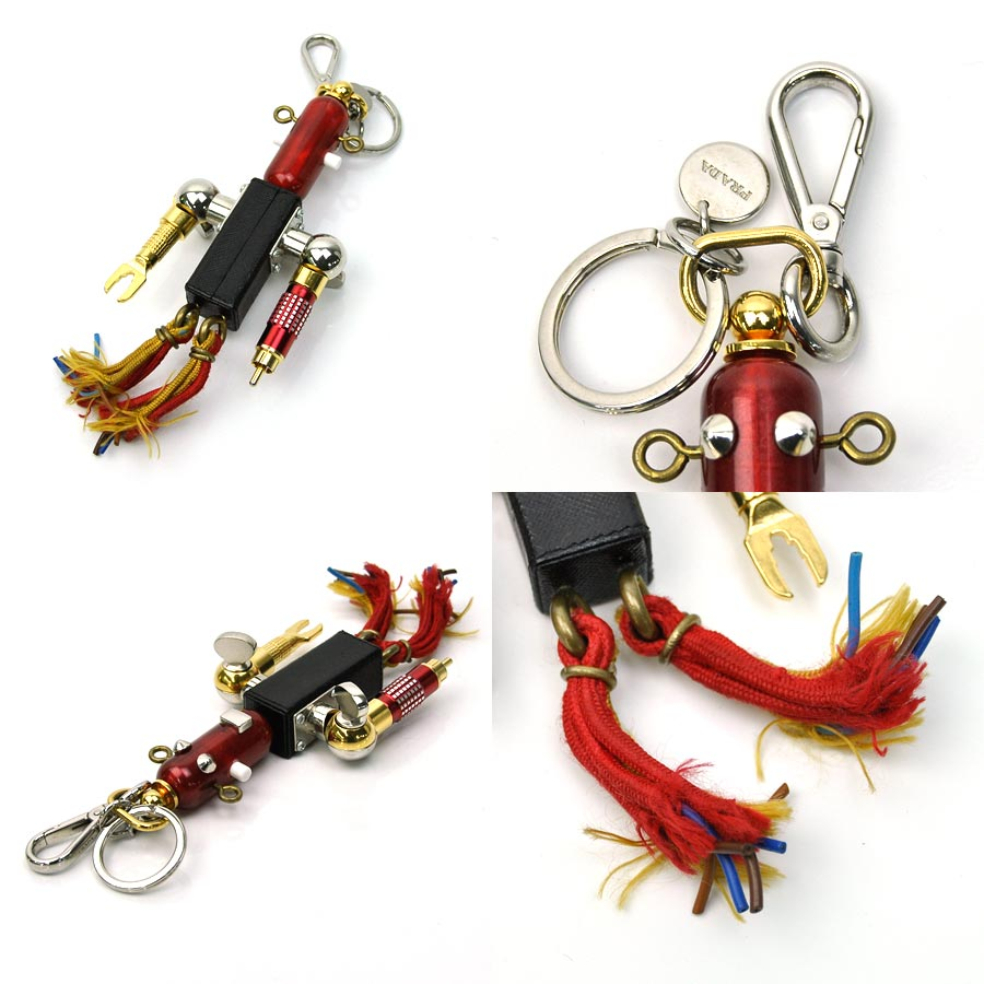 aa45f418ff1844 [basic popularity] [used] Prada [PRADA] robot key ring charm key ring  Lady's men red x black x gold-collar x silver color metal material x leather