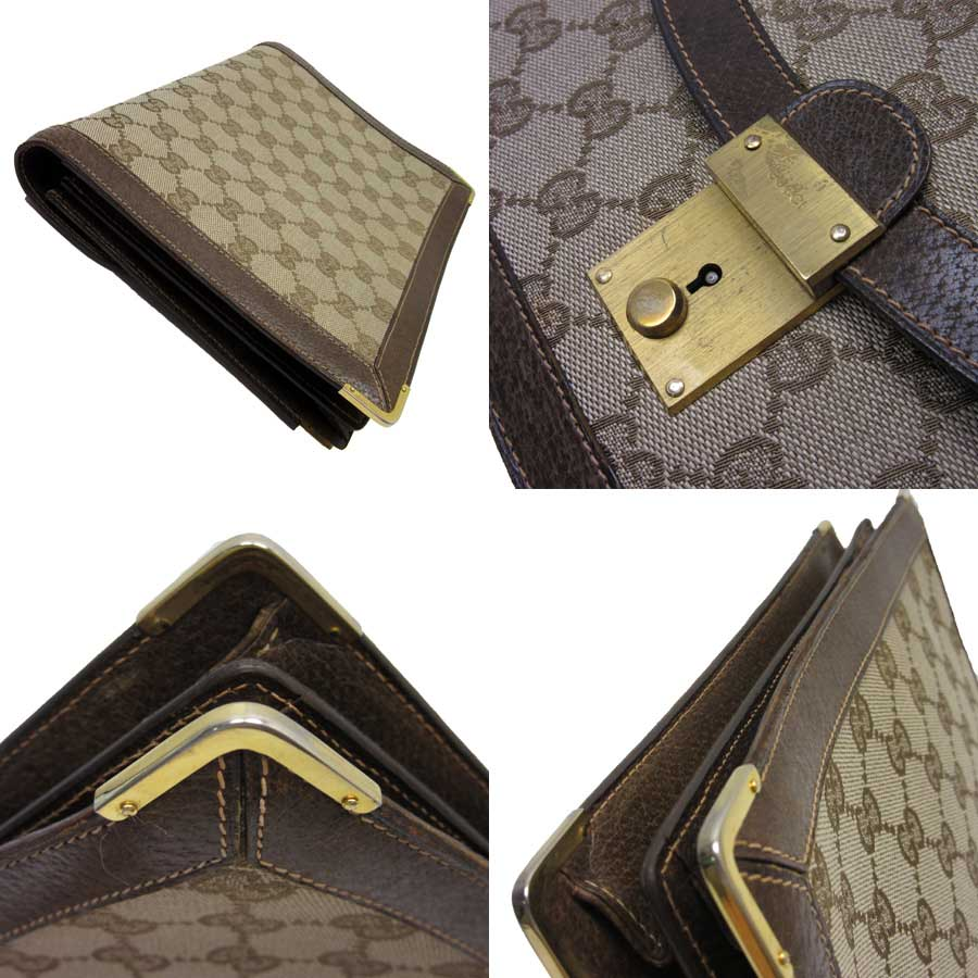 6e93c09f35d  basic popularity   used  Gucci  GUCCI  GG clutch bag second bag Lady s  beige x gold canvas x leather