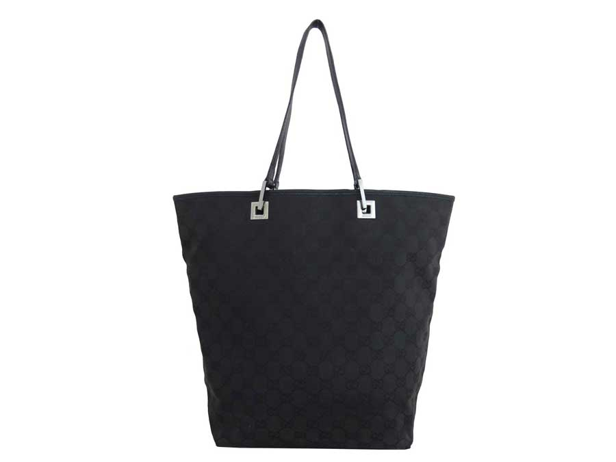 b0ec61fcdac  basic popularity   used  Gucci  GUCCI  GG canvas tote bag shoulder bag  Lady s black canvas x leather