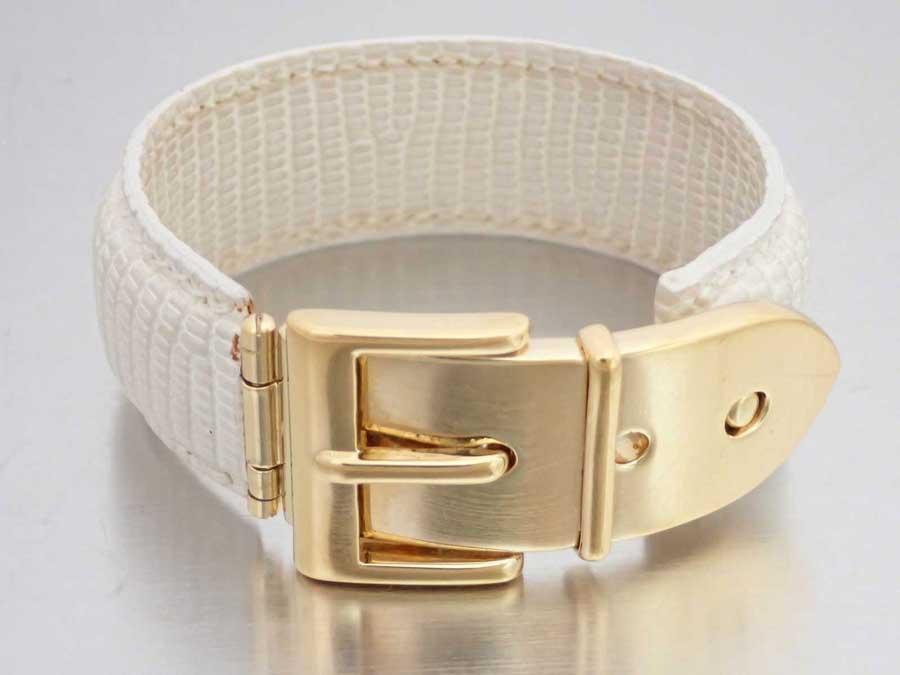 4b55f5a135838 Gucci Gucci bangle belt motif off-white x gold metal fittings leather x  metal material bracelet leather bracelet Lady's - e35285