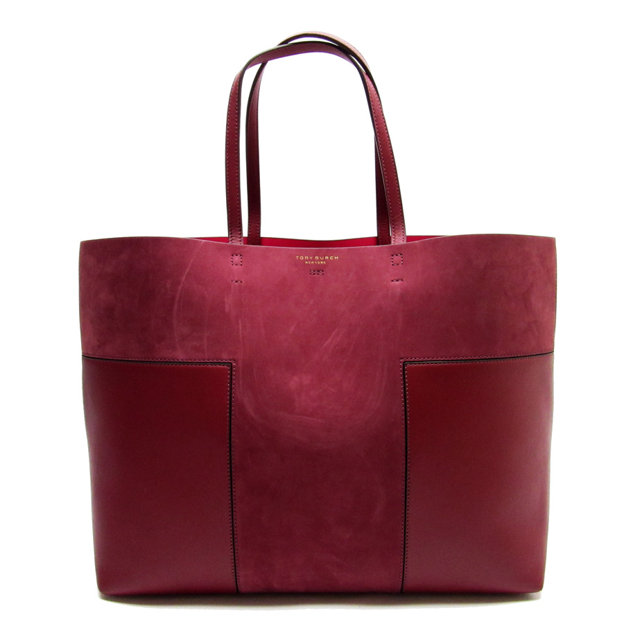 Basic Pority Used Tolly Birch Tory Burch Shoulder Bag Tote Lady S Dark Red Suede X Leather