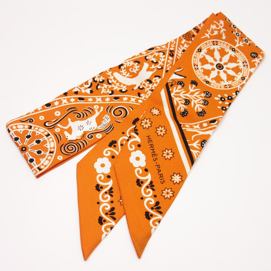 エルメス HERMES リボンスカーフ ツイリー オレンジ シルク100% レディース 【中古】【定番人気】 - h18770