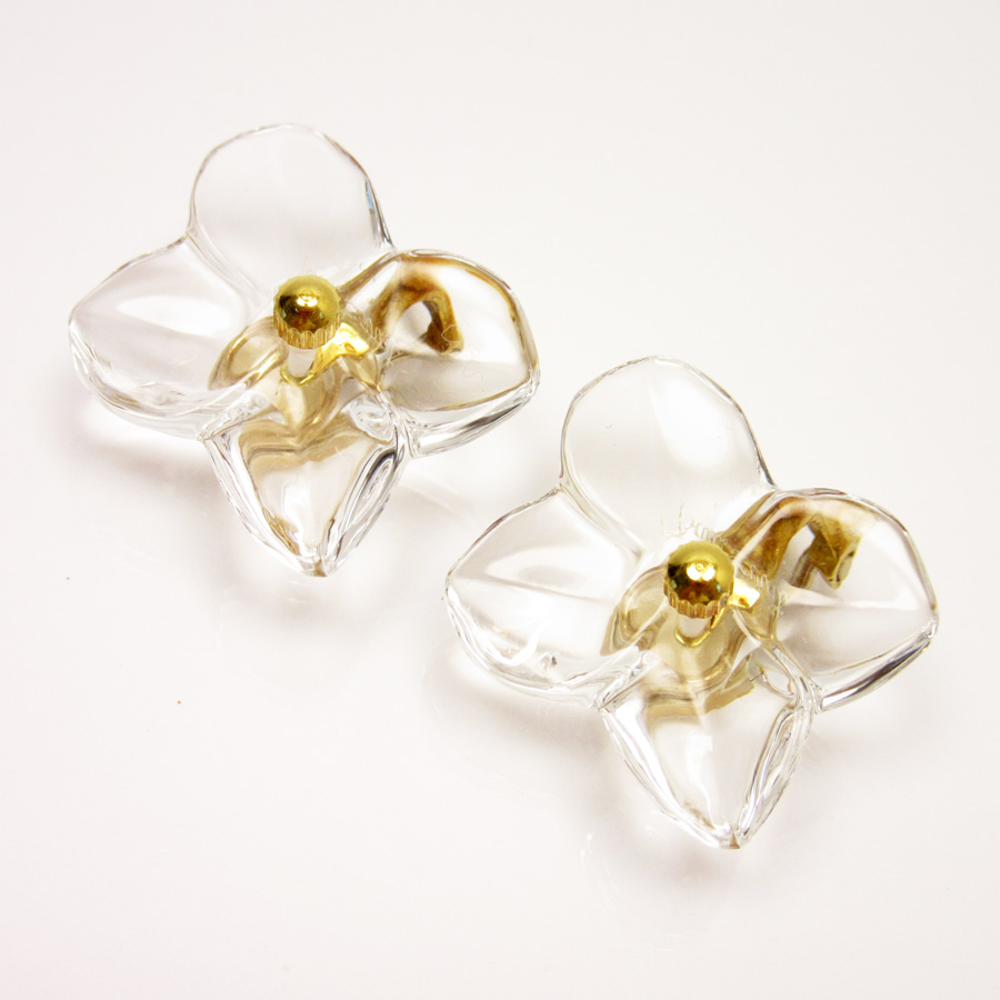 Basic Pority Used Baccarat Flower Earrings Lady S Clear X Gold Crystal