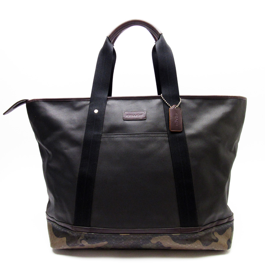 94ecec3446  basic popularity   used  coach  COACH  mini-signature camouflage shoulder  bag tote bag Lady s men black x khaki x brown PVCx leather