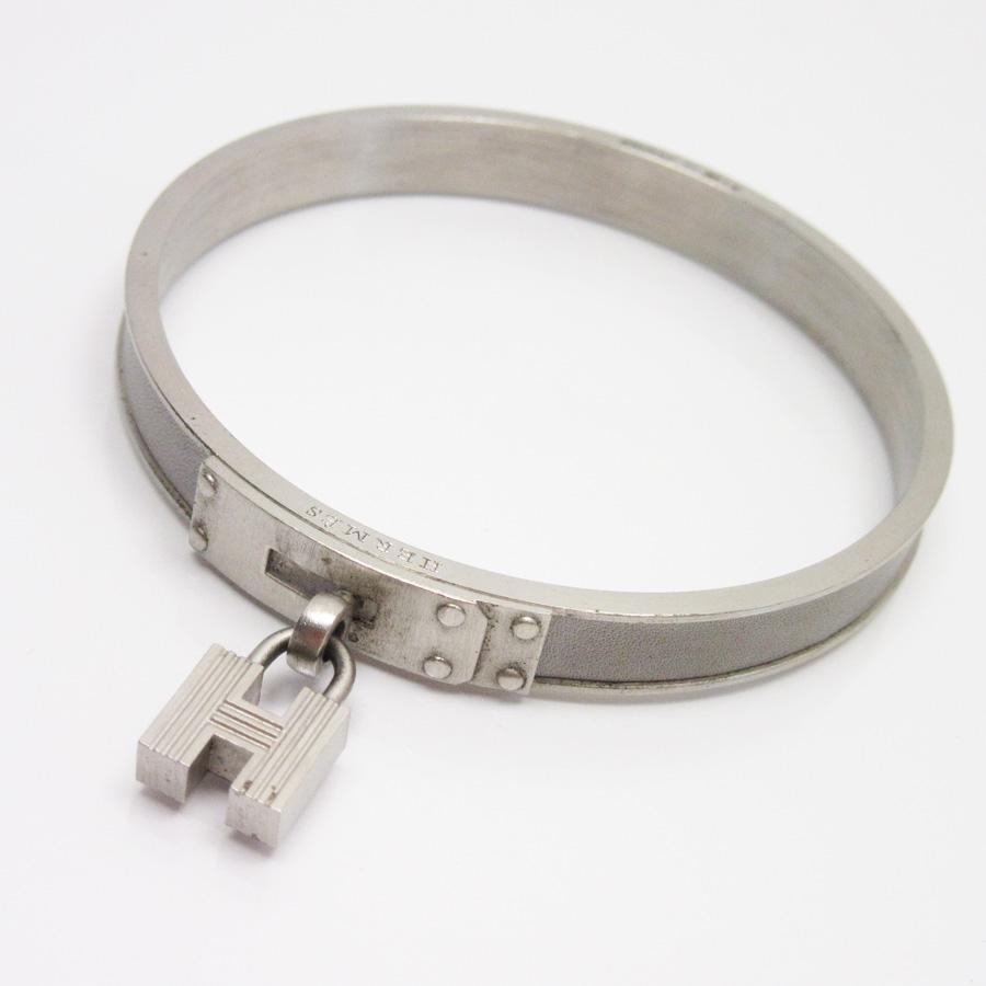 Brandvalue Hermes Bracelet Bangle H Logo Gray X Silver Leather Metal Material Lady S 88 903 Rakuten Global Market