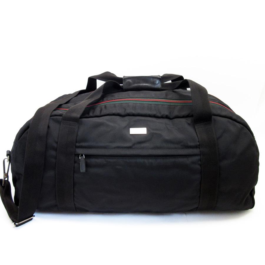 901cbd837517 [basic popularity] [used] Gucci [GUCCI] sherry handbag shoulder bag Boston  bag 2Way bag lady men black x red x green nylon x leather