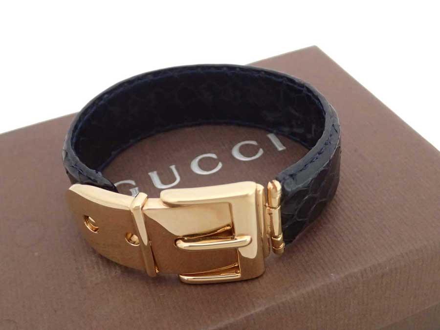 94655774d4139 Gucci GUCCI bangle belt motif black x gold metal fittings python leather x  metal material bracelet large breath men - e35631
