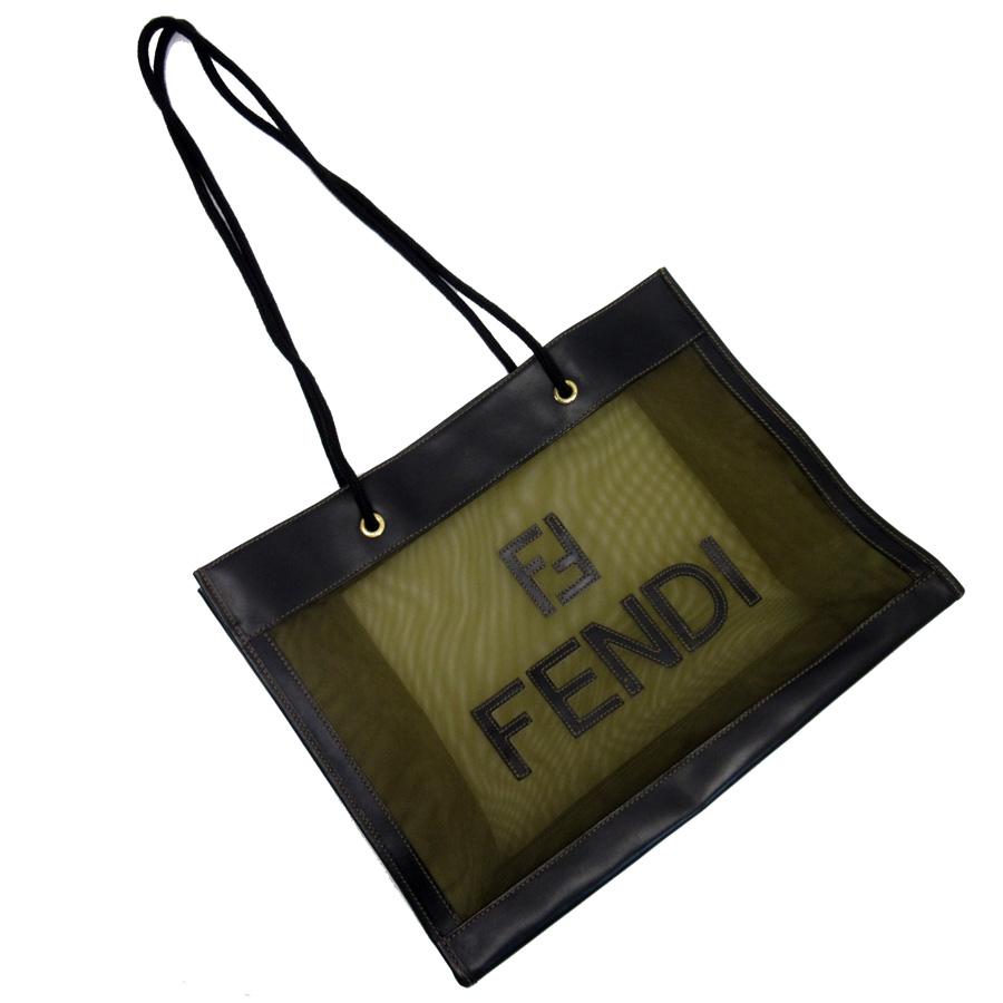 d82b49e8d4 Fendi FENDI shoulder bag tote bag brown x black x gold mesh x leather  Lady's - h19194
