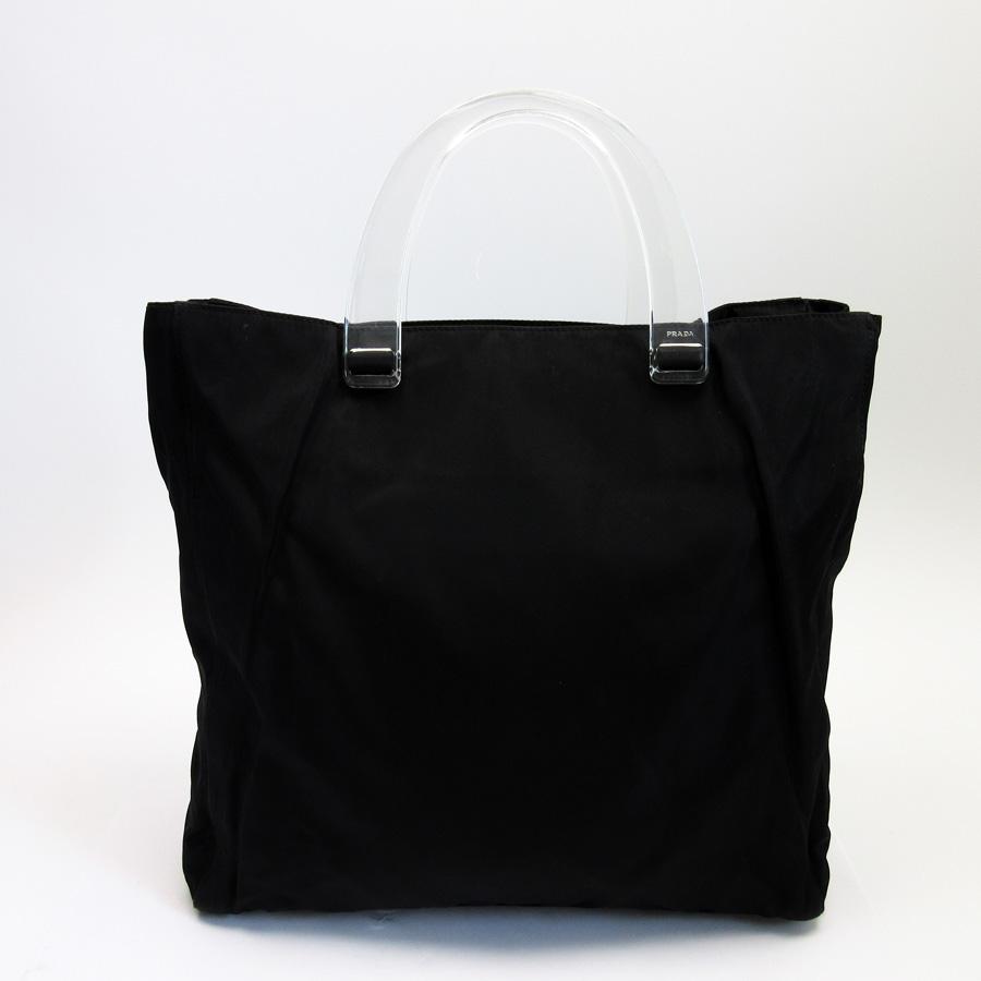 ... free shipping prada prada handbag logo plate nero black nylon x plastic  ladys 89283 26862 4b562 693ccee3e0117