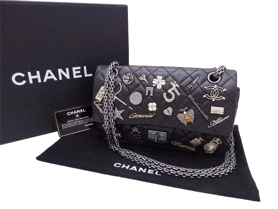 4971d7988786 BrandValue: Chanel CHANEL bag 2.55 charms icon double flap black x silver  metal fittings vintage leather chain shoulder bag double chain Lady's -  e35648 ...