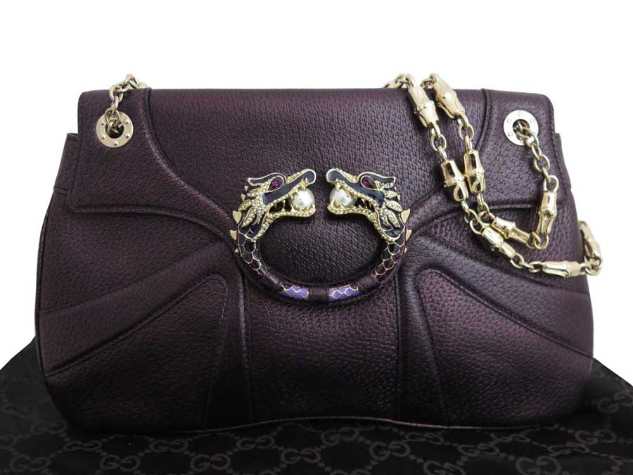 776fd996e06  basic popularity   used  a Gucci  GUCCI  bamboo bag shoulder bag chain  shoulder Lady s purple x gold metal fittings leather x rhinestone x metal  material