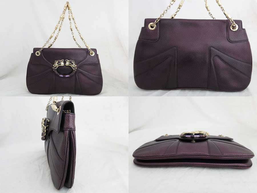 03f325977bf  basic popularity   used  a Gucci  GUCCI  bamboo bag shoulder bag chain  shoulder Lady s purple x gold metal fittings leather x rhinestone x metal  material