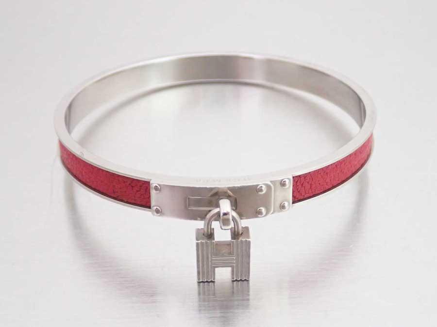 Brandvalue Hermes Bangle H Logo Red X Silver Metal Ings Leather Material Bracelet Lady S E35809 Rakuten Global