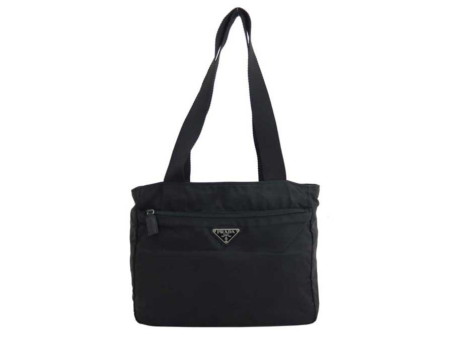 8614fd89b164 [basic popularity] [used] Prada [PRADA] triangle logo bag shoulder bag tote  bag Lady's black x silver metal fittings nylon