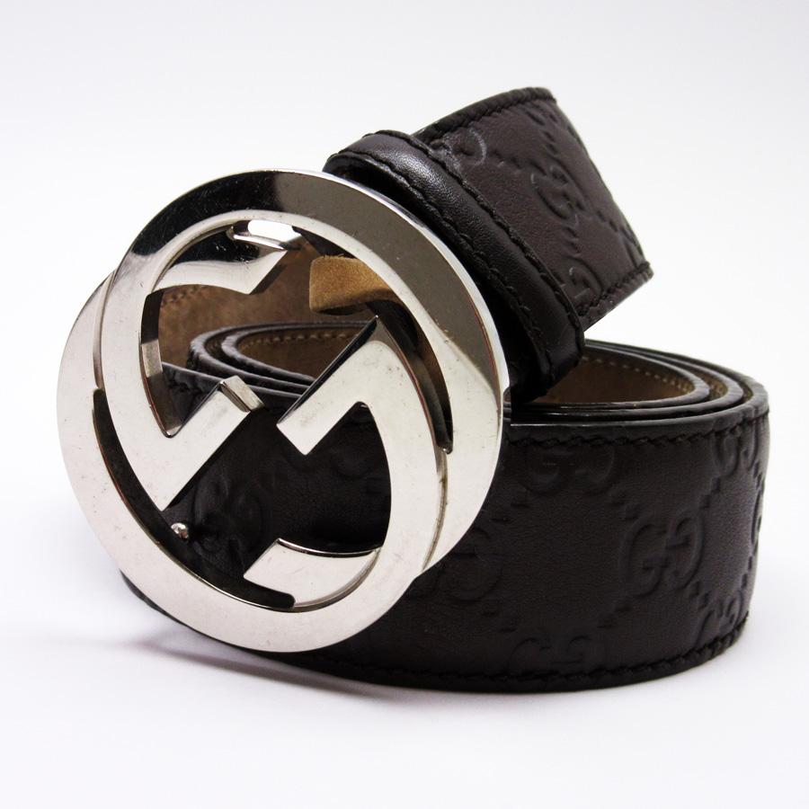63a91bf00 BrandValue: Gucci GUCCI belt (95/38) Gucci sima interlocking grip G dark  brown x silver GG type push leather x metal material Lady's men - h19337 |  Rakuten ...