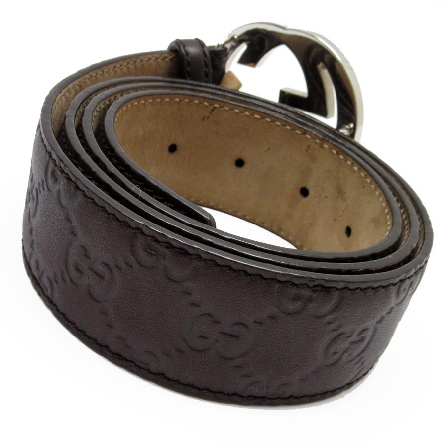 e9b854f27 [basic popularity] [used] a Gucci [GUCCI] Gucci sima interlocking grip G  belt (95/38) lady's men's dark brown x silver GG type push leather x metal  material