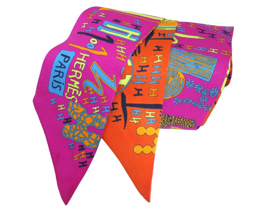 エルメス HERMES Hモチーフ ツイリー スカーフ オレンジxピンク 100%シルク レディース【中古】【おすすめ】- e35736
