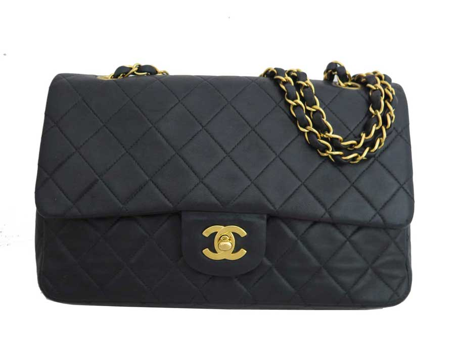 c02a4ad7eee0 [basic popularity] [used] Chanel [CHANEL] matelasse here mark bag chain  shoulder bag double flap Lady's black x gold metal fittings lambskin leather