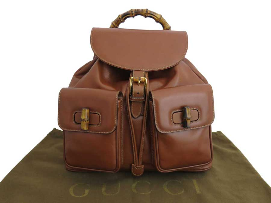 6bb6c6ffb9c0 BrandValue: Gucci Gucci rucksack bamboo brown x gold metal fittings leather  backpack bag lady men - e35949 | Rakuten Global Market
