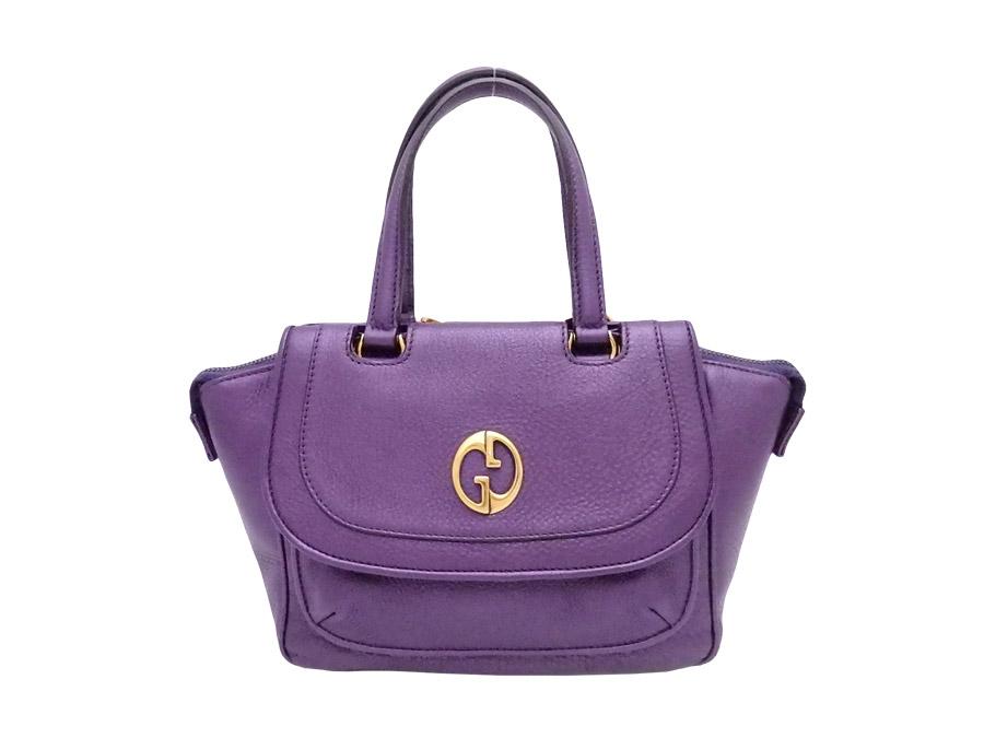 b2d19df3f349 It is Gucci  Gucci  GG metal fittings bag handbag mini-bag lady metallic  purple x gold metal fittings leather  soot   used