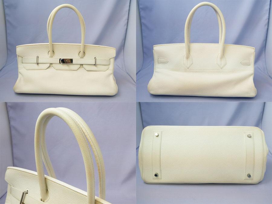 c765b4371f  basic popularity   used  Hermes  HERMES  shoulder Birkin bag shoulder bag  Lady s white x silver metal fittings avian Yong Clement s leather