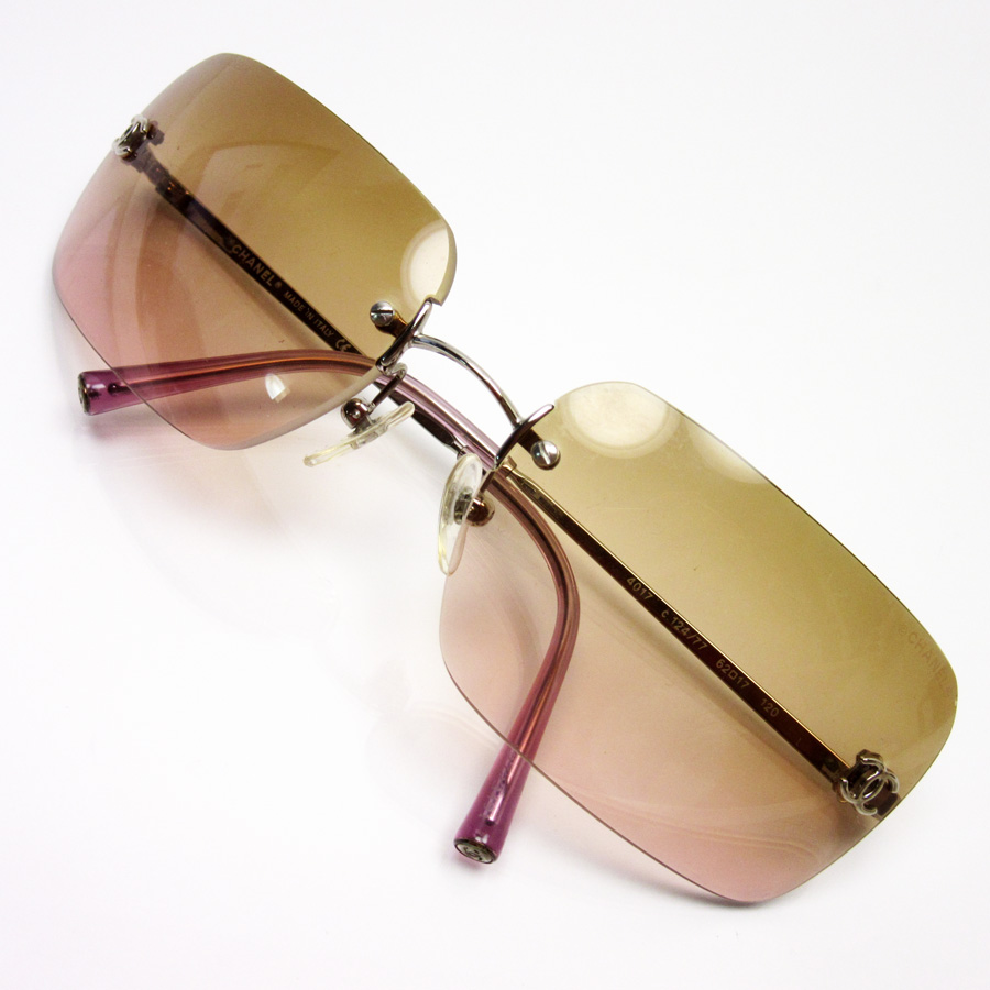 69b28d1186d Chanel CHANEL sunglasses (62 □ 17 120) here mark lens  Brown   pink side   Silver   pink SS Lady s - h19965