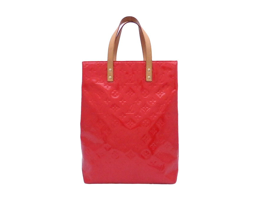 Basic Pority Used Louis Vuitton モノグラムヴェルニリード Mm Bag Tote Handbag Lady S Red X Gold Metal Ings Patent Leather