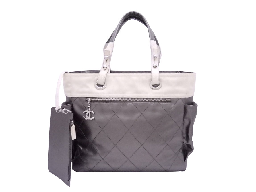 e7d9af9f1c Chanel CHANEL bag Paris Biarritz GM gray silver x off-white x silver metal  fittings nylon canvas x leather tote bag shoulder bag Lady's - e36252