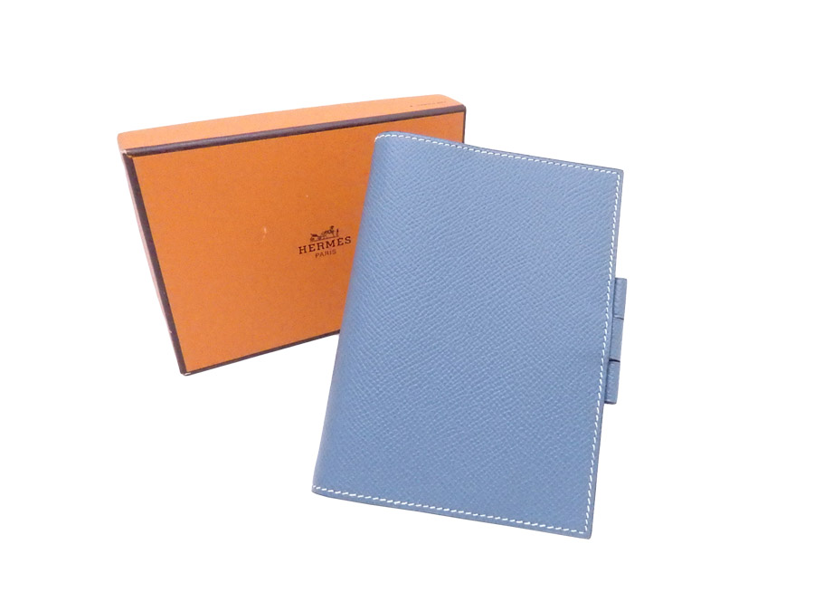 c7c63786fd2 BrandValue: Hermes HERMES notebook cover agenda PM blue Gene leather agenda  cover note cover Lady's men - e36262 | Rakuten Global Market