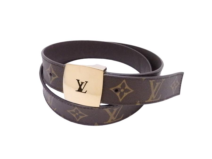 0a61daea767f  basic popularity   used  Louis Vuitton  Louis Vuitton  monogram sun Tulle  belt waist belt buckle Lady s men brown x gold metal fittings monogram  canvas