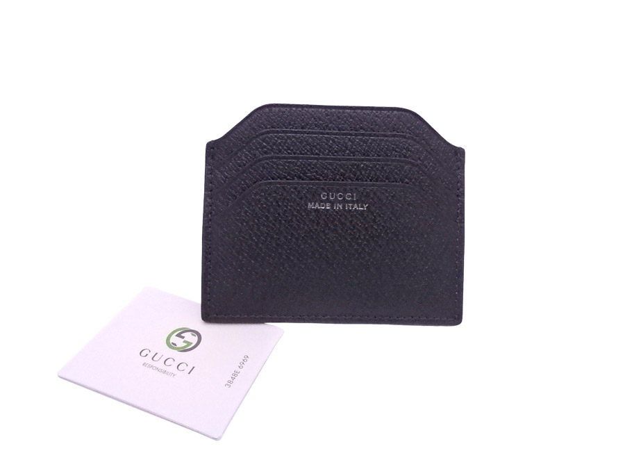 【美品】グッチ Gucci カードケース ブラック レザー パスケース 名刺入れ レディース メンズ 322107 【中古】 - e36288