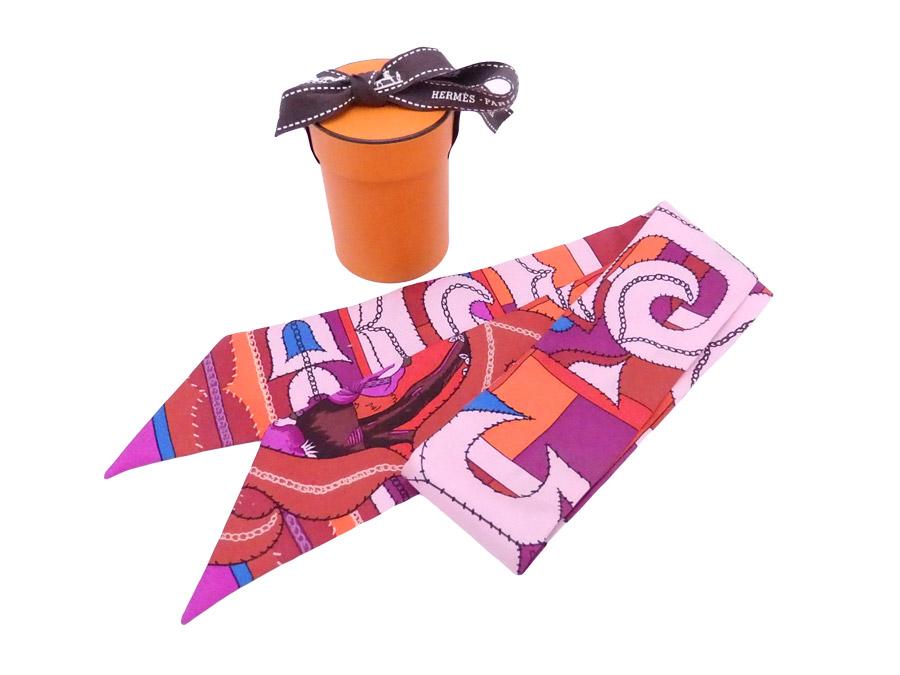 エルメス HERMES スカーフ ツイリー ピンクxマルチカラー 100% シルク リボンスカーフ 【中古】【おすすめ】 - e35762