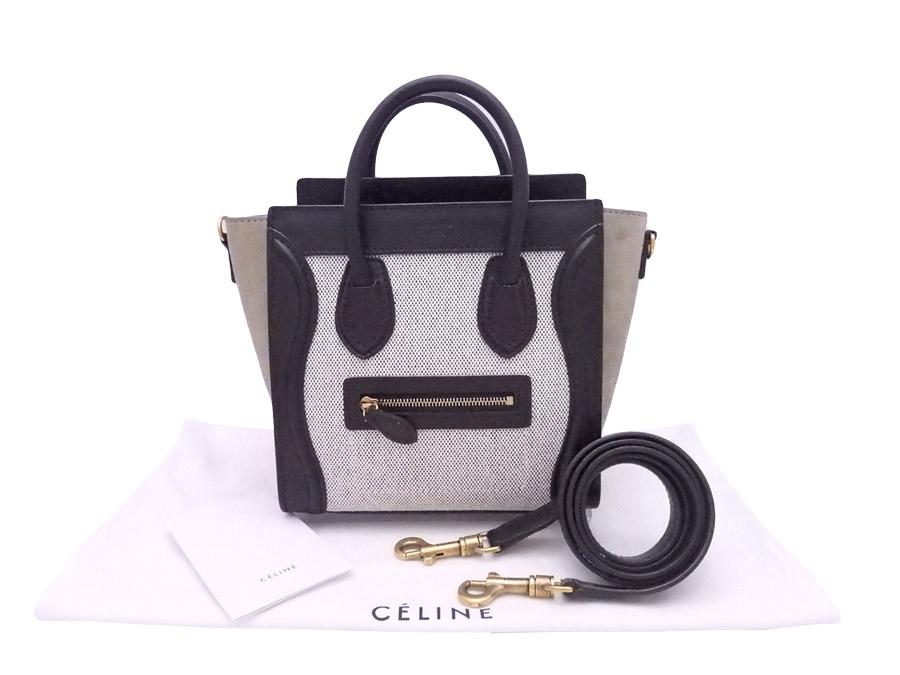 3e8257d2404e  beautiful article  It is Celine  CELINE  luggage nano shopper 2Way bag  handbag shoulder bag Lady s black x beige x gold metal fittings canvas x  leather ...