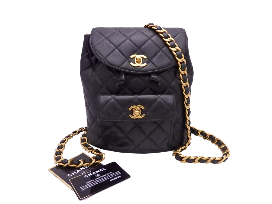 basic popularity   used  Chanel  CHANEL  here mark matelasse rucksack  backpack black leather x gold metal fittings a60e0654138bf