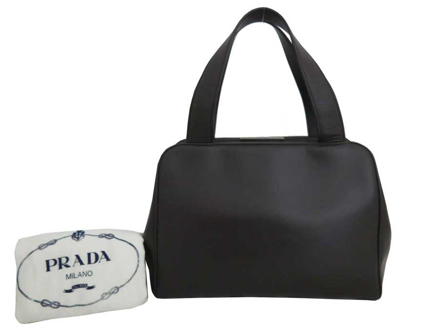 Basic Pority Used Prada Logo Bag Handbag Lady S Dark Brown Leather