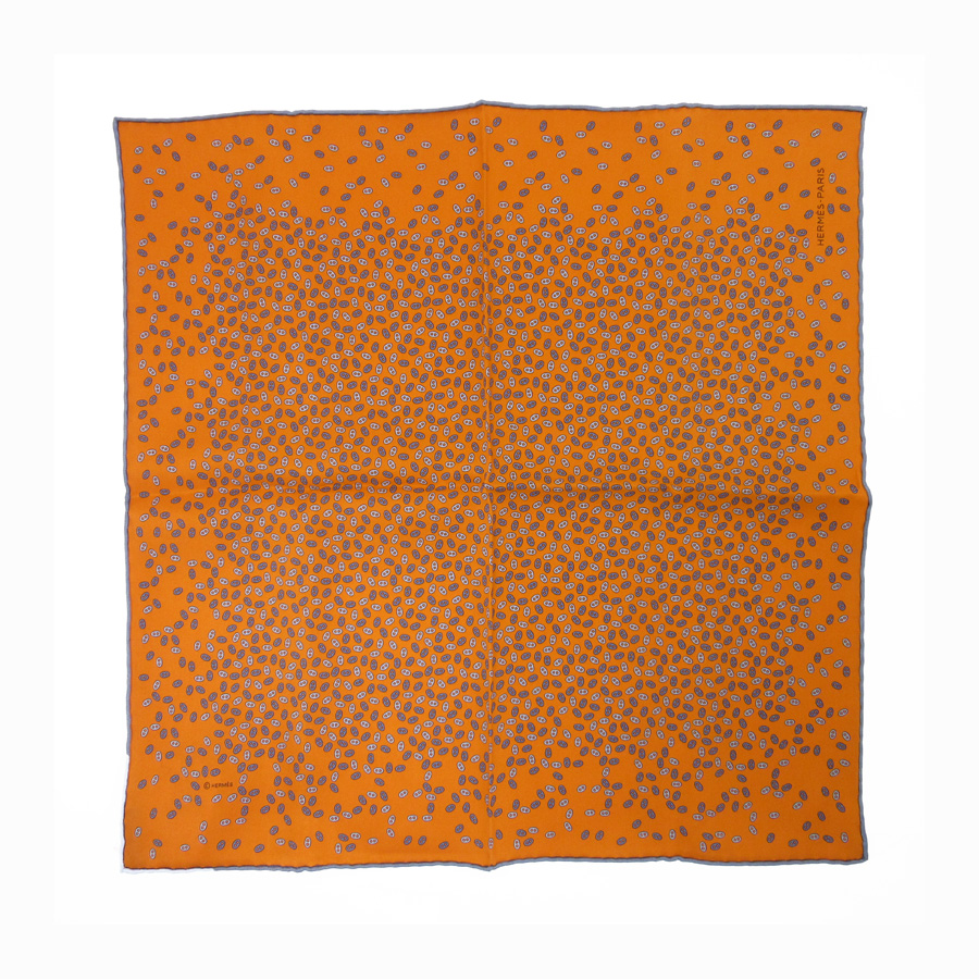エルメス HERMES スカーフ シェーヌダンクル オレンジxブルー シルク100% レディース メンズ 【中古】【おすすめ】 - h21295