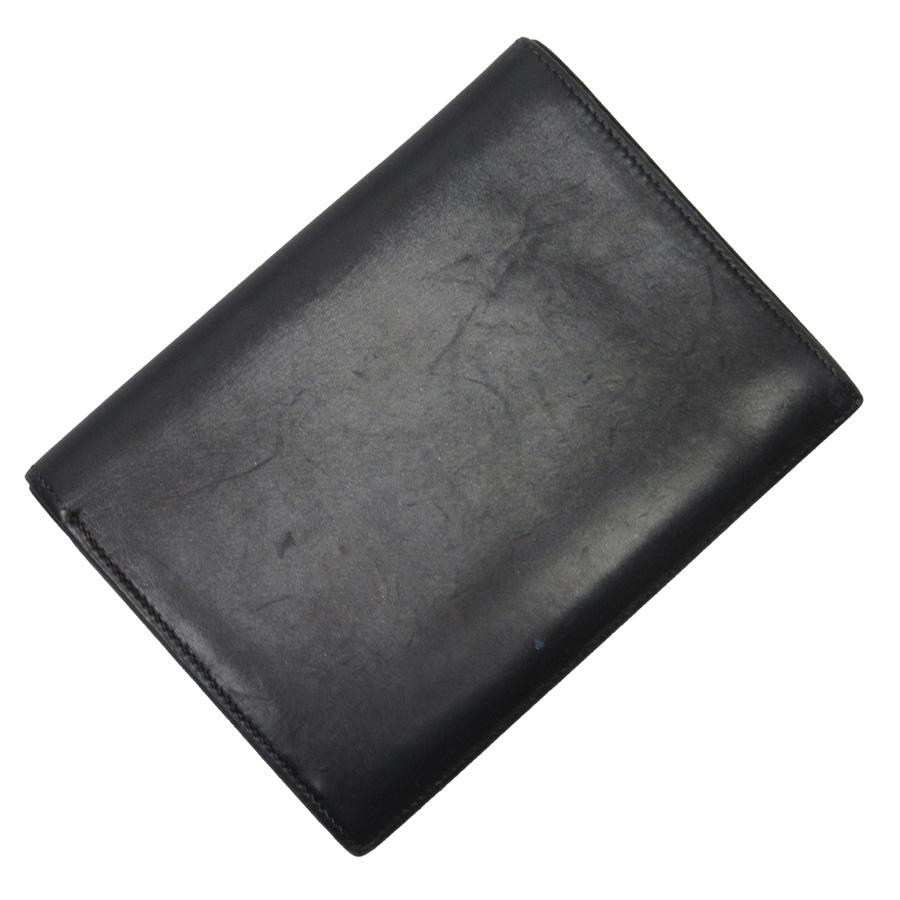 エルメス HERMES 二つ折り札入れ カードケース ブラック レザー レディース 【中古】【定番人気】 - n9069