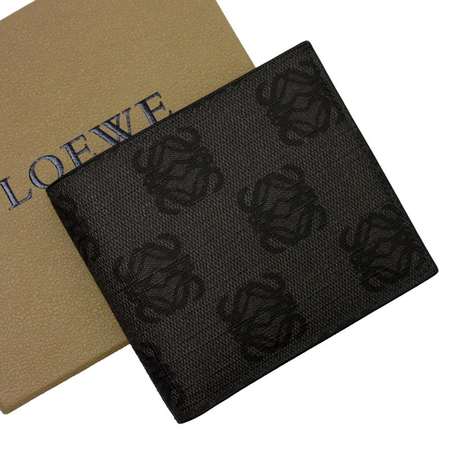 ロエベ LOEWE 二つ折り札入れ アナグラム グレーxブラック PVC レディース メンズ 【中古】【定番人気】 - n9079