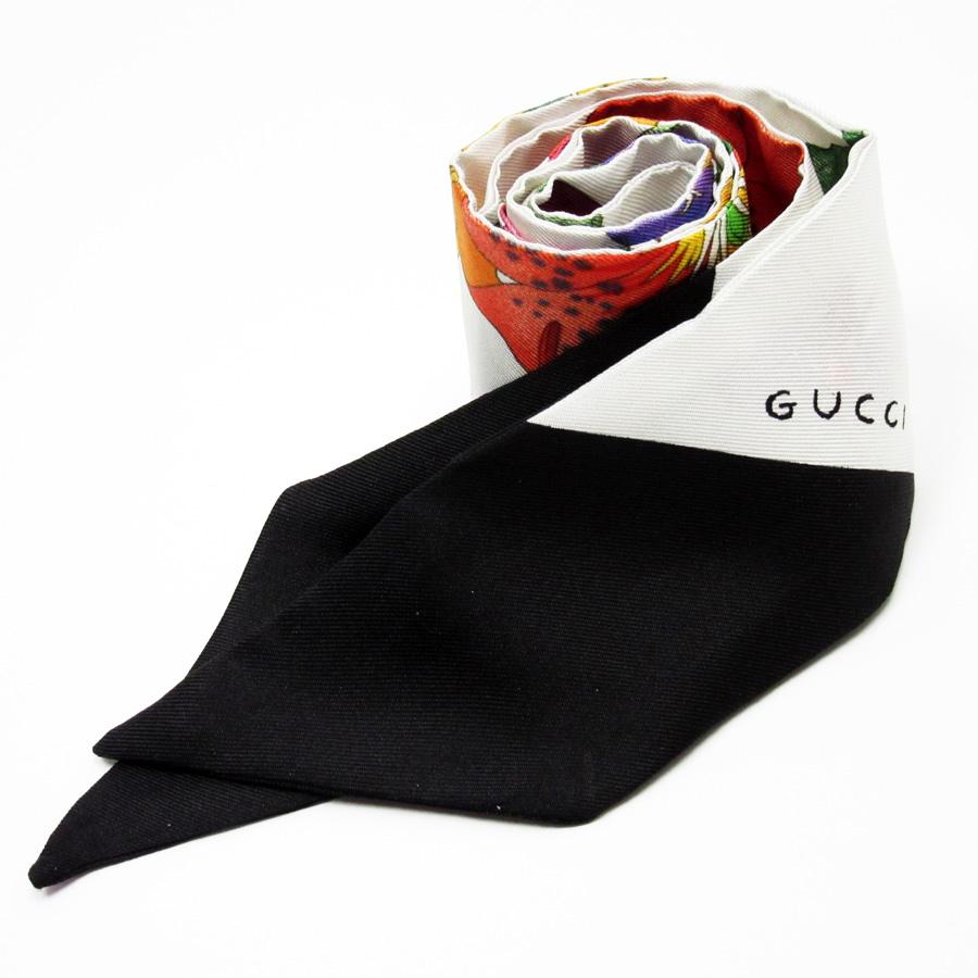 グッチ GUCCI リボンスカーフ ホワイトxブラックxマルチ シルク100% レディース 【中古】【定番人気】 - n9082