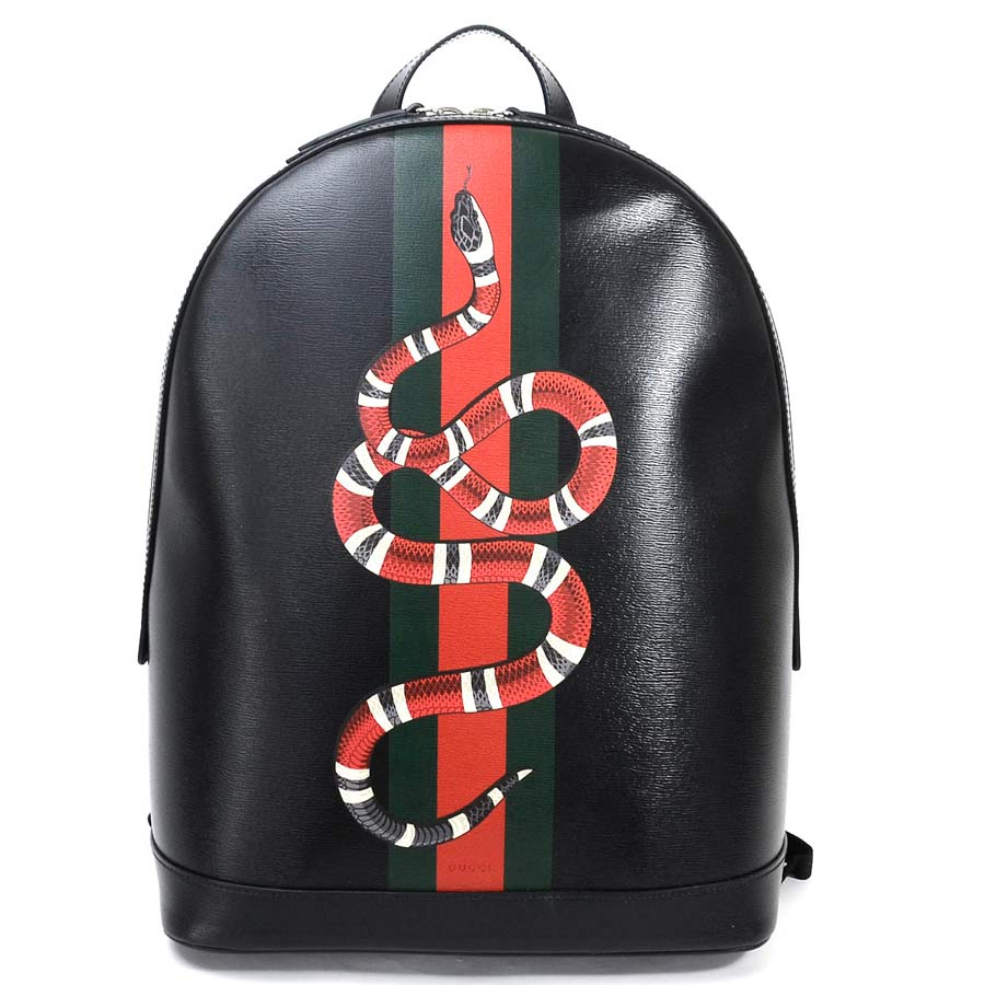 12be00305b BrandValue: Gucci rucksack snake print black x red x green x gray x white  leather 419584 GUCCI Lady's men 419584 premium special feature -95,674 |  Rakuten ...