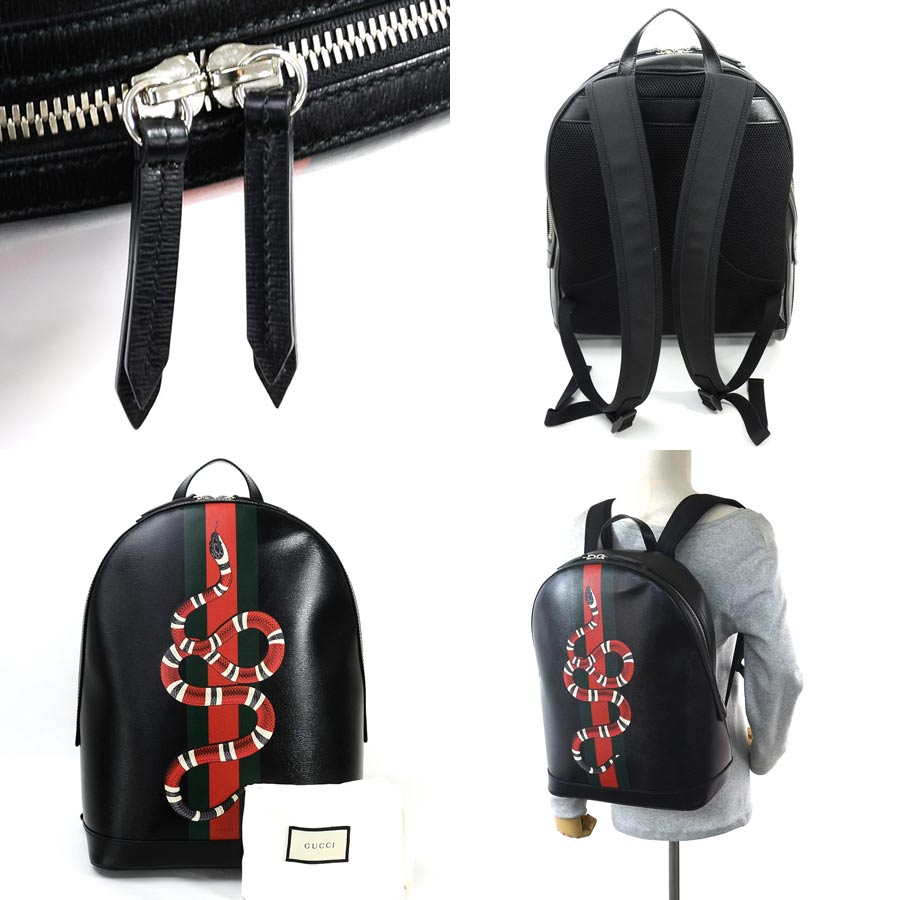 4630b6c56 It is Gucci [GUCCI] snake print rucksack Lady's men black x red x green x  gray x white leather [as well as a new article] [used]