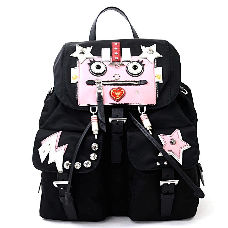 791ebba0068d ... article] [used] nylon backpack rucksack Lady's NERO+PETALO (black x pink  x red x white) nylon x サフィアーノレザー x stone x studs with Prada [PRADA] ...