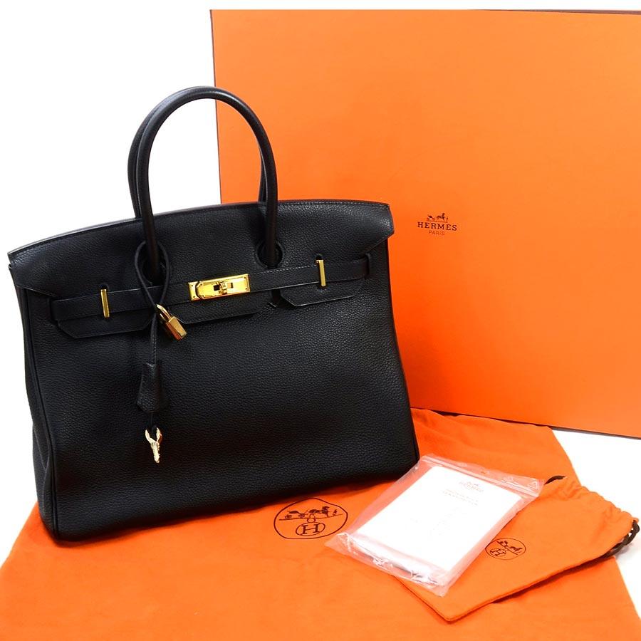 13b0740ff58a  beautiful article  It is Hermes  HERMES  Birkin 35 bag handbag Lady s black  x gold metal fittings トゴレザー  used