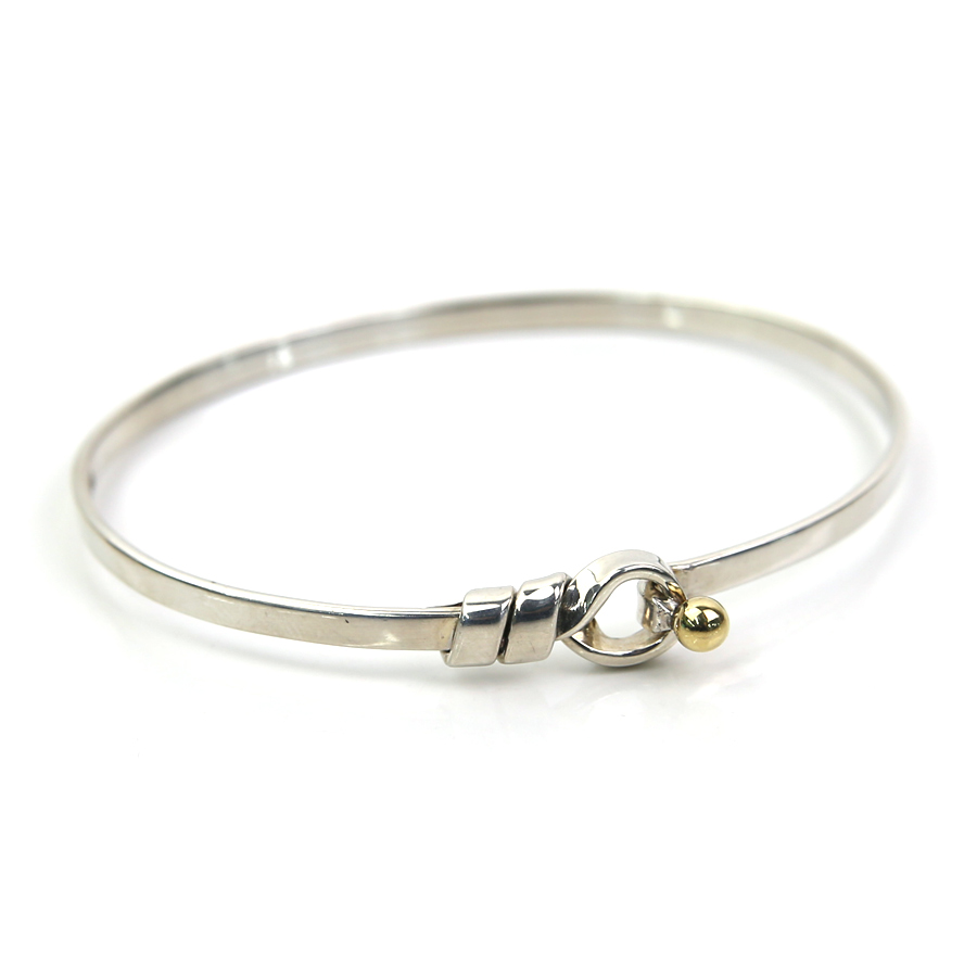 cc20218f9 BrandValue: Tiffany bracelet bangle hook & eye Tiffany&Co. Silver x  yellow gold SV925x750YG Lady's - y13470 | Rakuten Global Market