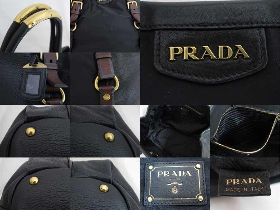 d8ef254acf8d [basic popularity] [used] Prada [Prada] bag tote bag shoulder bag Lady's  black x brown x gold metal fittings leather x nylon
