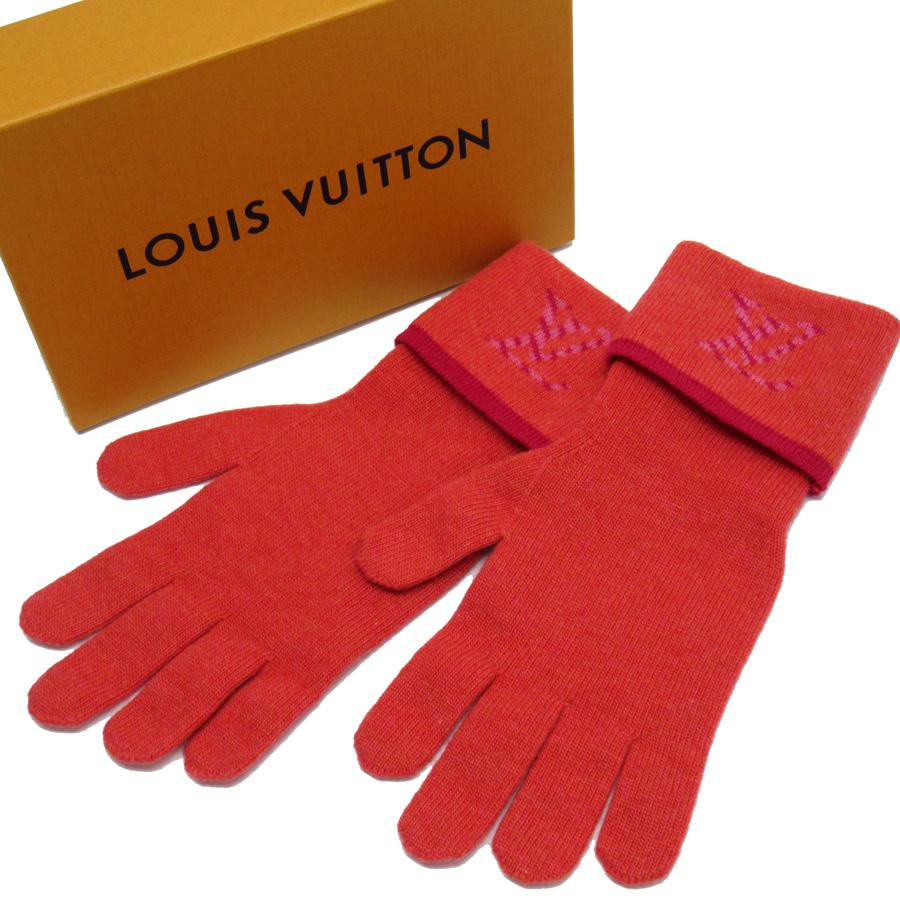 ルイヴィトン Louis Vuitton 手袋 ゴン・ポップ モノグラム ピンクxパープル ウール70% カシミア30% レディース 【中古】【おすすめ】 - h21767